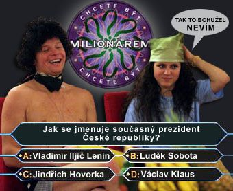 Těžká otázka v Milionáři! - klikni  > další Fotka